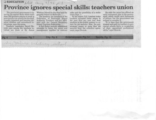 Province ignores special skill: teachers union