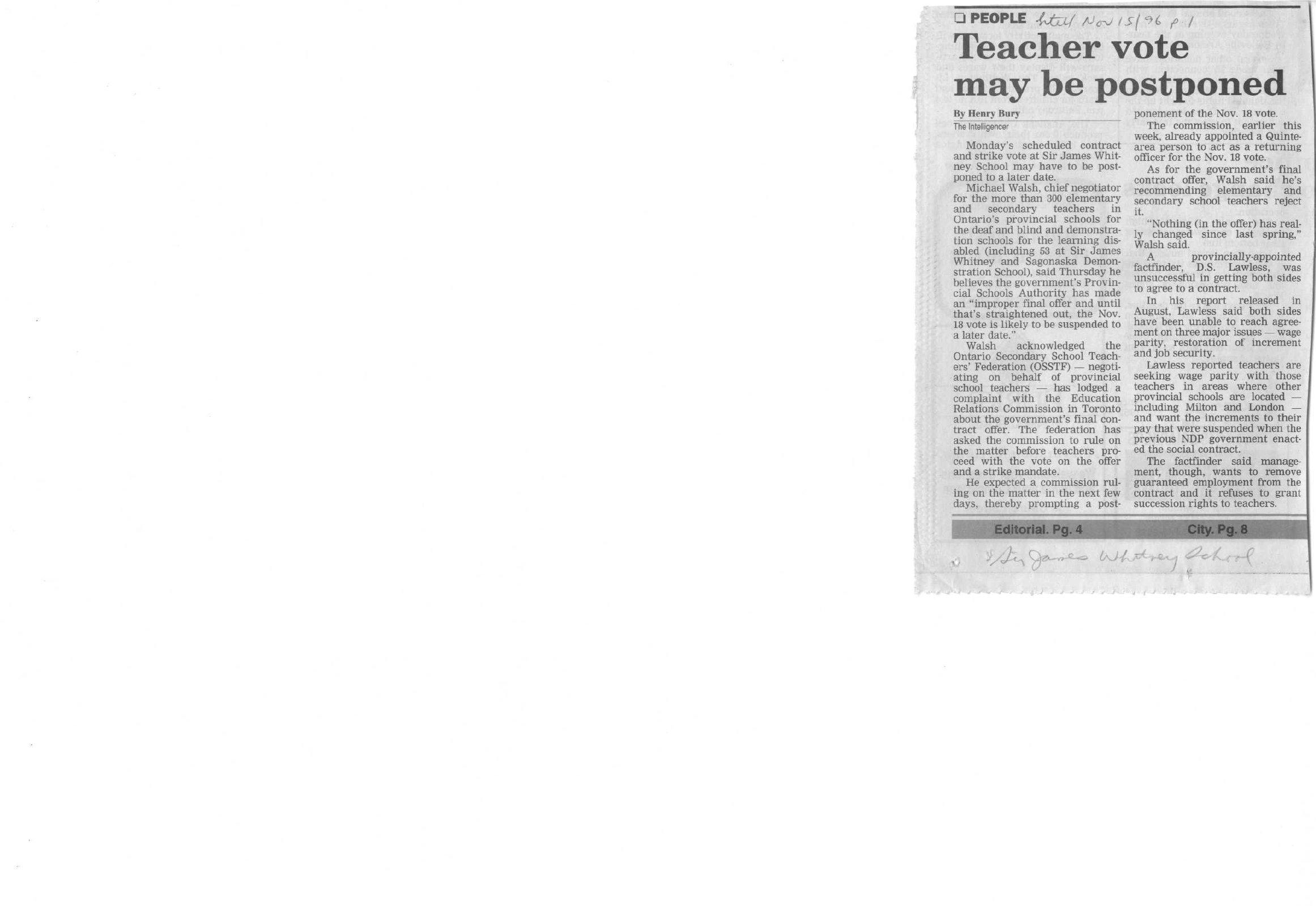 Teacher vote may be postponed
