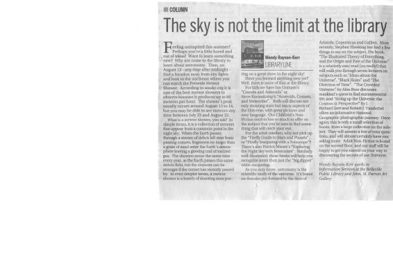 The sky is not the limit at the library