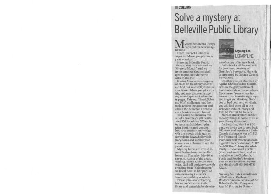 Solve a mystery at Belleville Public Library