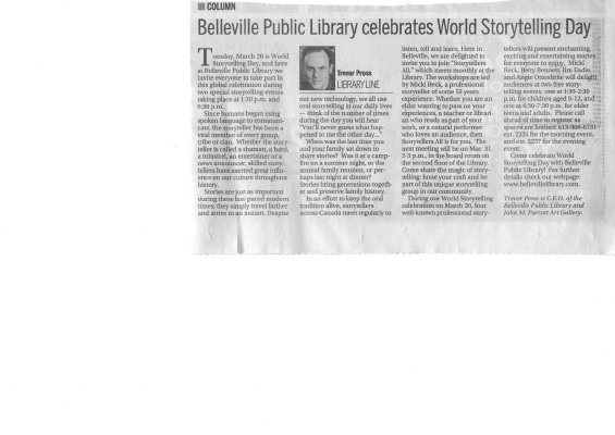 Belleville Public Library celebrates World Storytelling Day
