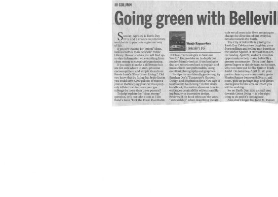 Going green with Belleville Public Library