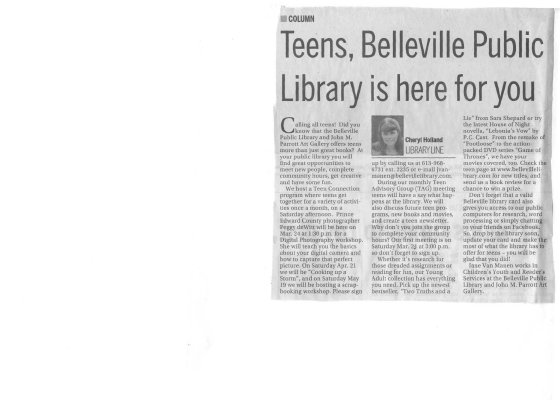 Teens, Belleville Public Library is here for you