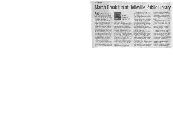 March Break fun at Belleville Public Library