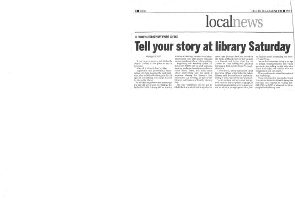 Tell your story at library Saturday