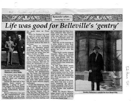 "Life was good for Belleville's ""gentry"""