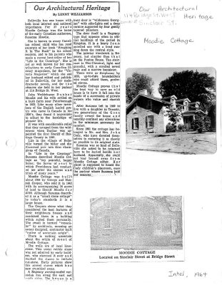Our Architectural heritage: Moodie Cottage
