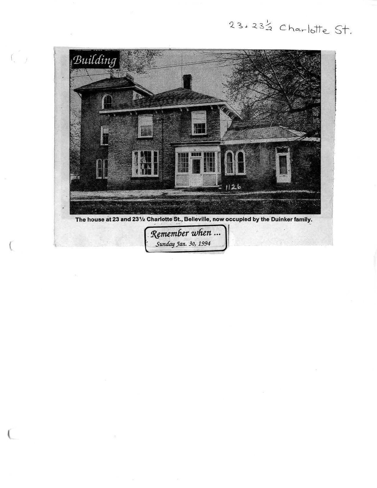 Remember when: 23 and 23 1/2 Charlotte St.  Stone house holds wonderful memories