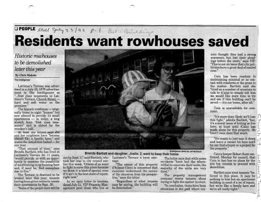Residents want rowhouses saved