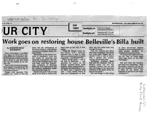 Work goes on restoring house Belleville's Billa built