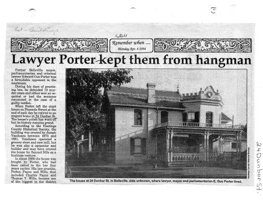 Lawyer Porter kept them from hangman