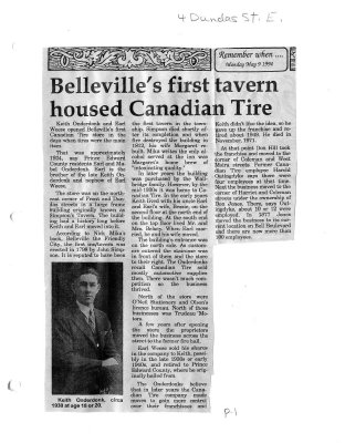 Belleville's first tavern housed Canadian Tire