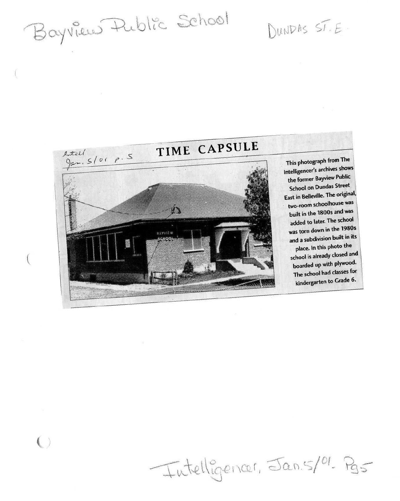 Time capsule: Bayview Public School