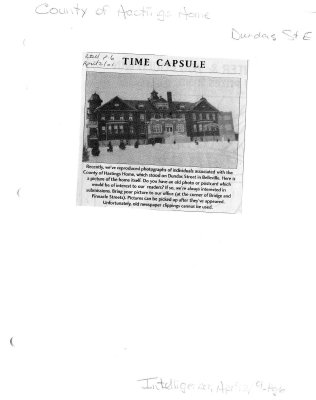 Time capsule: County of Hastings Home