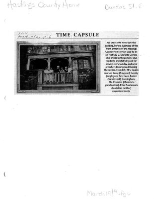 Time capsule: Hastings County Home
