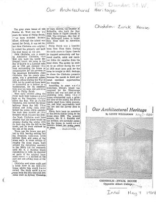 Our Architectural Heritage: Chisholm-Zwick House