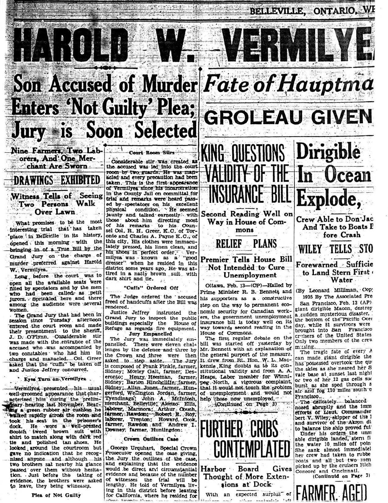 Harold Vermilyea is Placed on Trial