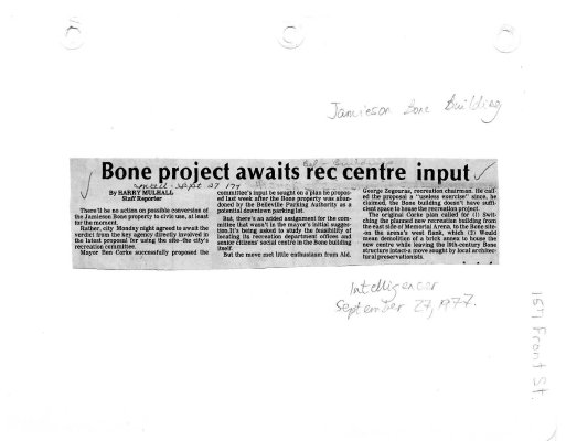 Bone project awaits rec centre input