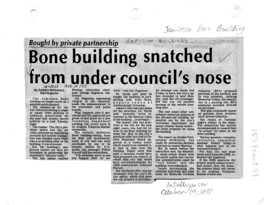 Bone building snatched from under council's nose