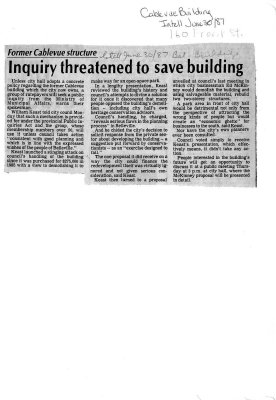Inquiry threatened to save building