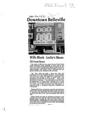 Downtown Belleville: Wills block - Leslie's shoes: 255 Front Street