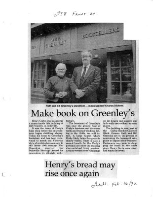 Make book on Greenley's : Henry's bread may rise once again