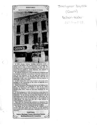 Historic Downtown Structures: Neilson-Holder building (Geen's)
