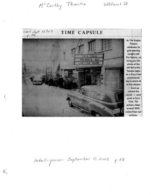 Time capsule: McCarthy Theatre