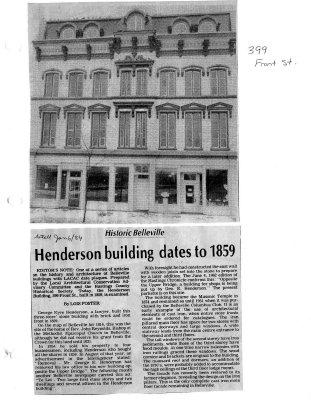 Historic Belleville: Henderson building dates to 1859