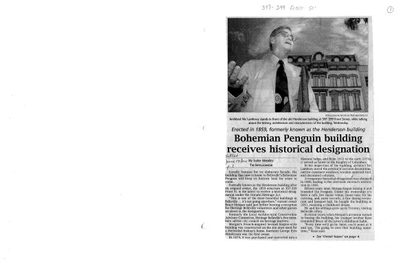 Bohemiam Penguin building receives historical designation: Owner hopes designation will be catalyst for others