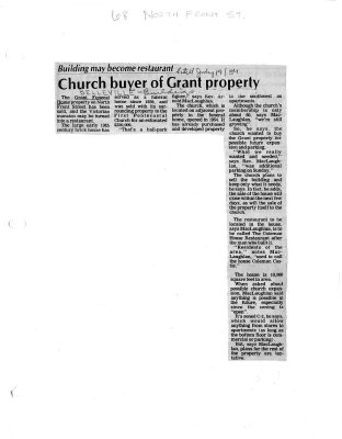 Church buyer of Grant property