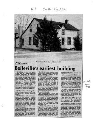 Petrie House: Belleville's earliest building