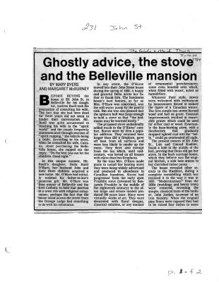 Ghostly advice, the stove and the Belleville mansion: 231 John St.