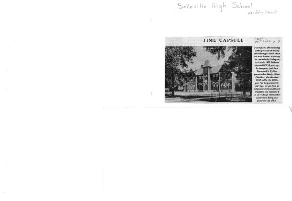 Time capsule: 224 john Street: Belleville High School