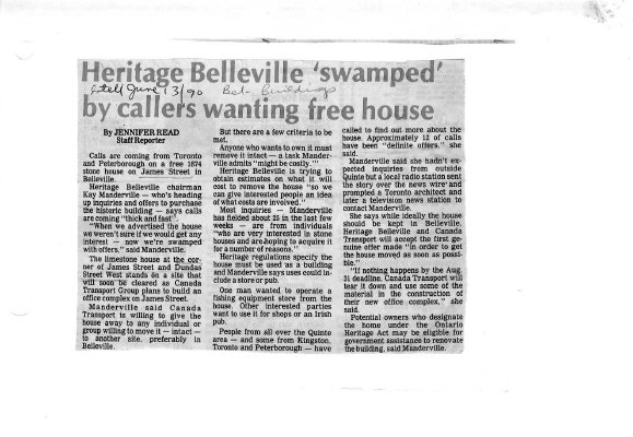 """Heritage Belleville """"swamped"""" by callers wanting free house"""