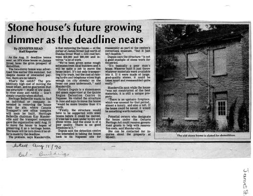 Stone house's future growing dimmer as the deadline nears