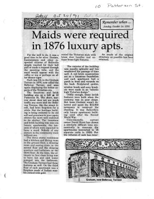 Maids were required in 1876 luxury apts.