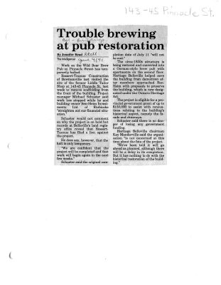 Trouble brewing at pub restoration