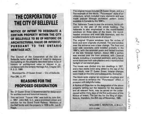 Notice of intent to designate a property as historic