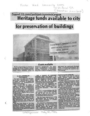 Heritage funds available to city for preservation of buildings