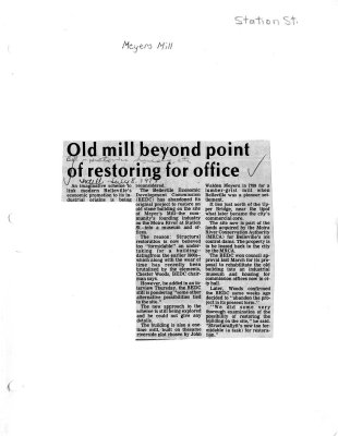 Old Mill beyond point of restoring for office