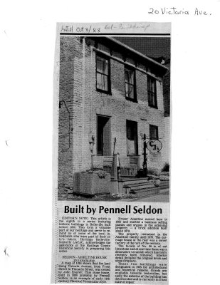 Built by Pennell Seldon: Seldon-Asseltine House 20 Victoria Ave.
