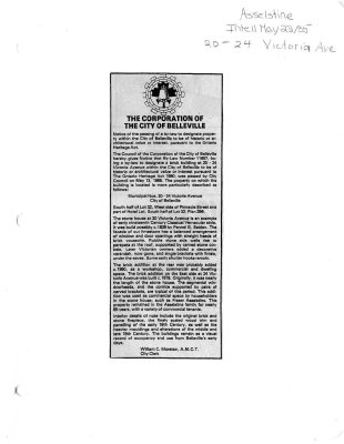 Notice of passing of by-law for historic property - Asselstine House
