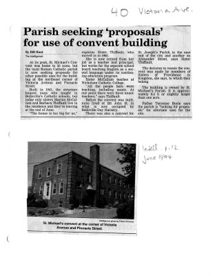 """Parish seeking """"proposals"""" for use of convent building"""
