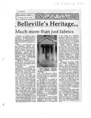Belleville's heritage... much more than just fabrics