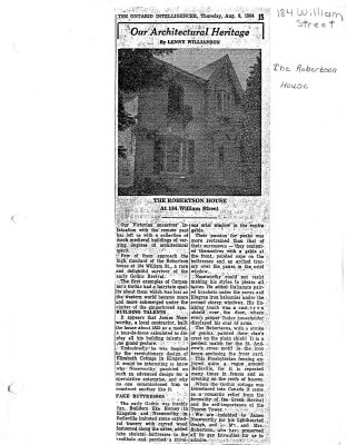 Our Architectural Heritage: 184 William St. The Robertson House
