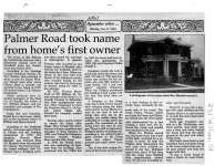 Palmer Road took name from home's first owner