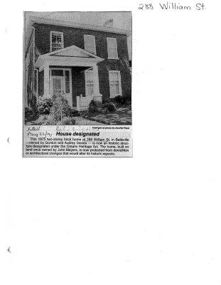 House designated : 288 William St.