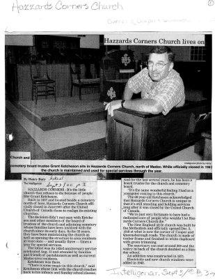 Hazzards Corners Church lives on