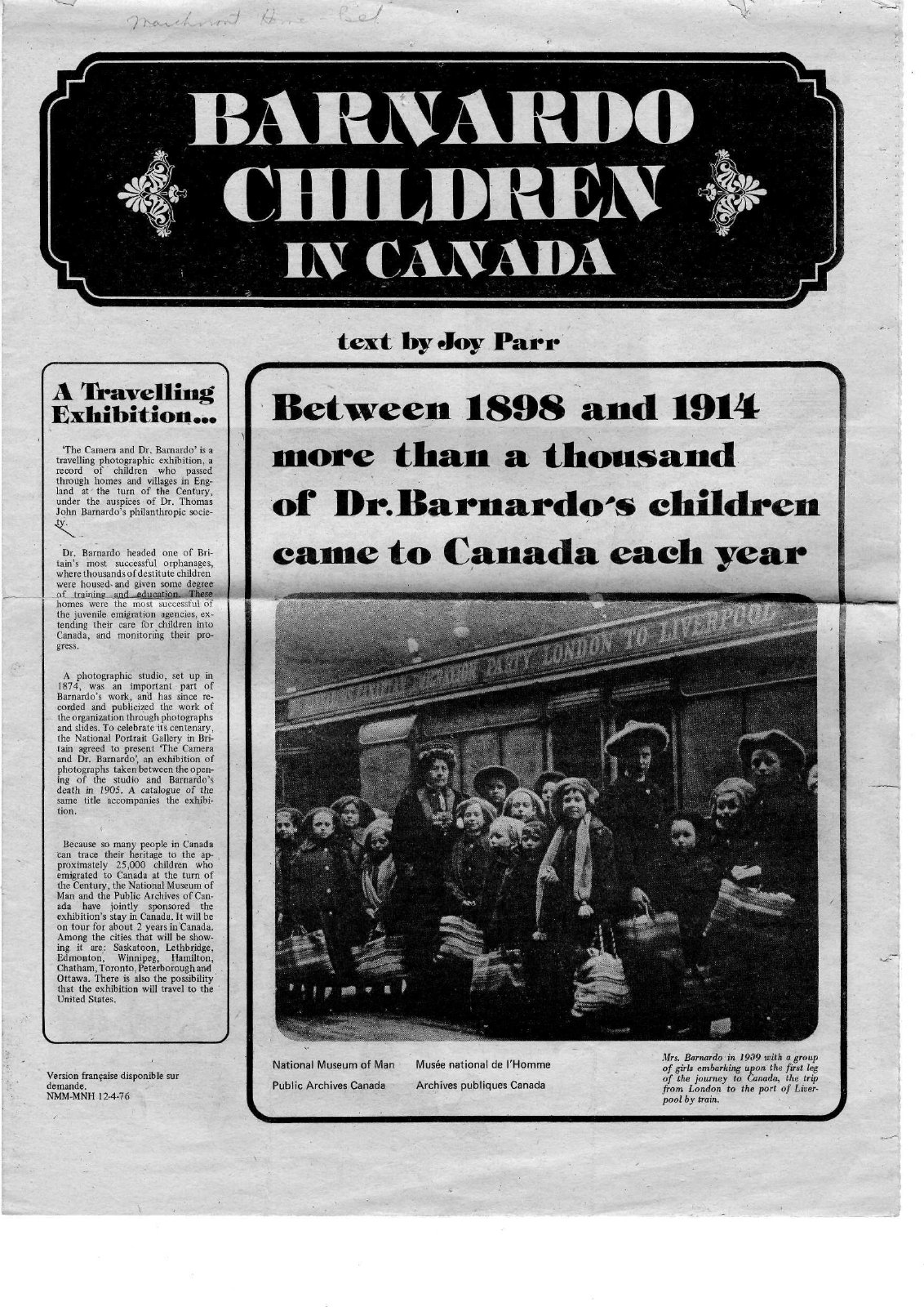Even in the 1970s people were still talking about what a successful effort the Child Migrant program was. <br>Courtesy the Belleville Public Library.